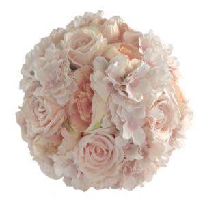ABH-Deco - fleur artificielle boule de rose pêche